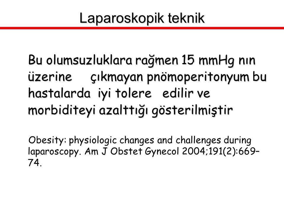 Bu olumsuzluklara rağmen 15 mmHg nın üzerine çıkmayan pnömoperitonyum bu hastalarda iyi tolere edilir ve morbiditeyi azalttığı gösterilmiştir Obesity: