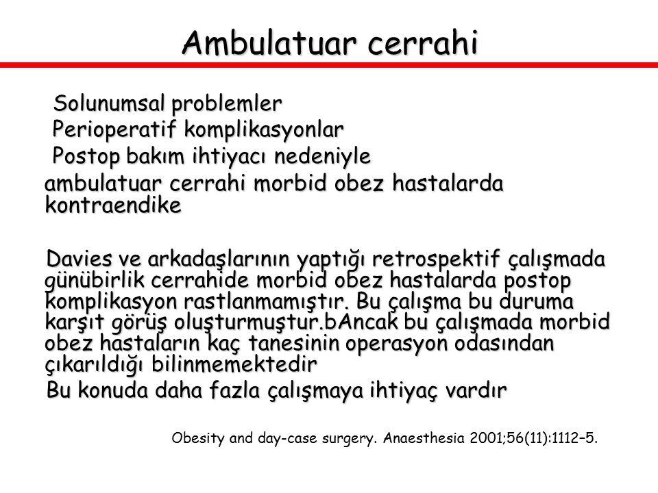 Ambulatuar cerrahi Solunumsal problemler Perioperatif komplikasyonlar Postop bakım ihtiyacı nedeniyle ambulatuar cerrahi morbid obez hastalarda kontra