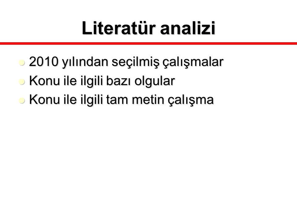 Literatür analizi 2010 yılından seçilmiş çalışmalar 2010 yılından seçilmiş çalışmalar Konu ile ilgili bazı olgular Konu ile ilgili bazı olgular Konu i