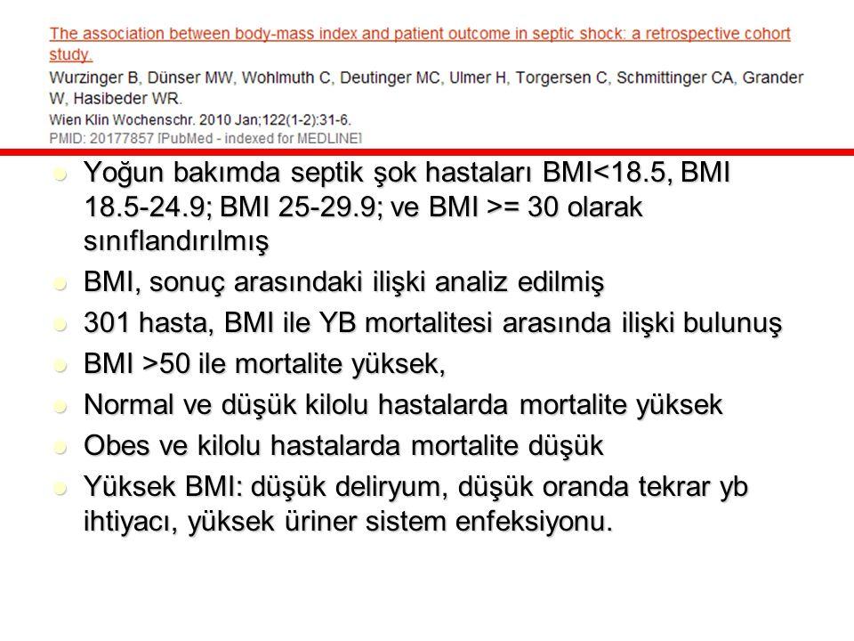 Yoğun bakımda septik şok hastaları BMI = 30 olarak sınıflandırılmış Yoğun bakımda septik şok hastaları BMI = 30 olarak sınıflandırılmış BMI, sonuç ara
