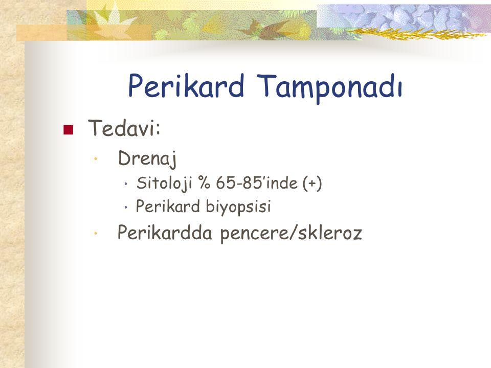 Perikard Tamponadı Tedavi: Drenaj Sitoloji % 65-85'inde (+) Perikard biyopsisi Perikardda pencere/skleroz
