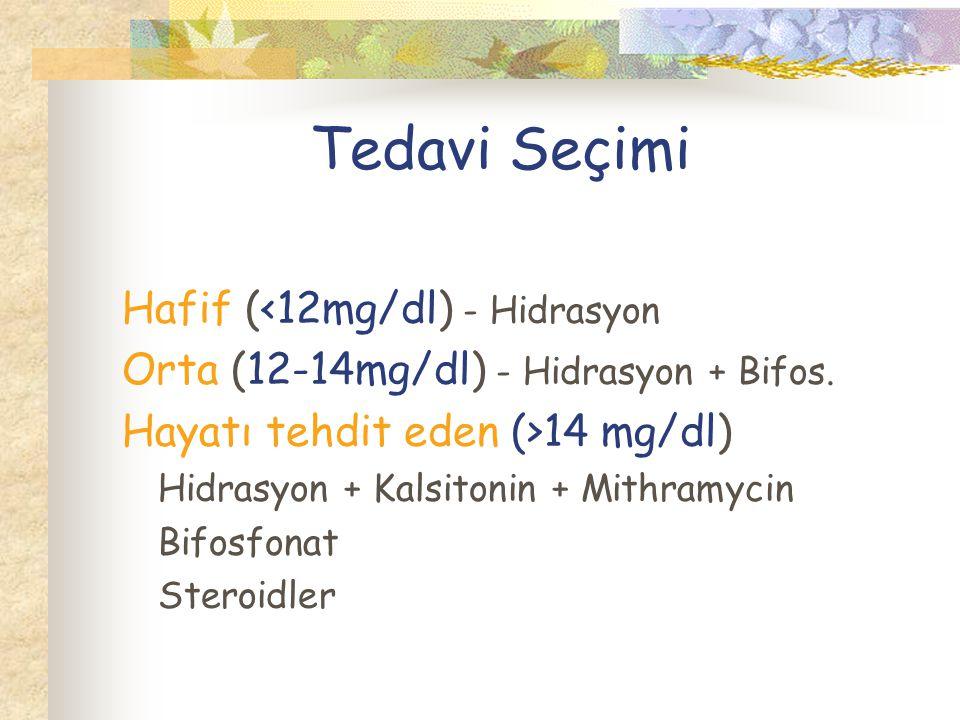 Tedavi Seçimi Hafif (<12mg/dl) - Hidrasyon Orta (12-14mg/dl) - Hidrasyon + Bifos.