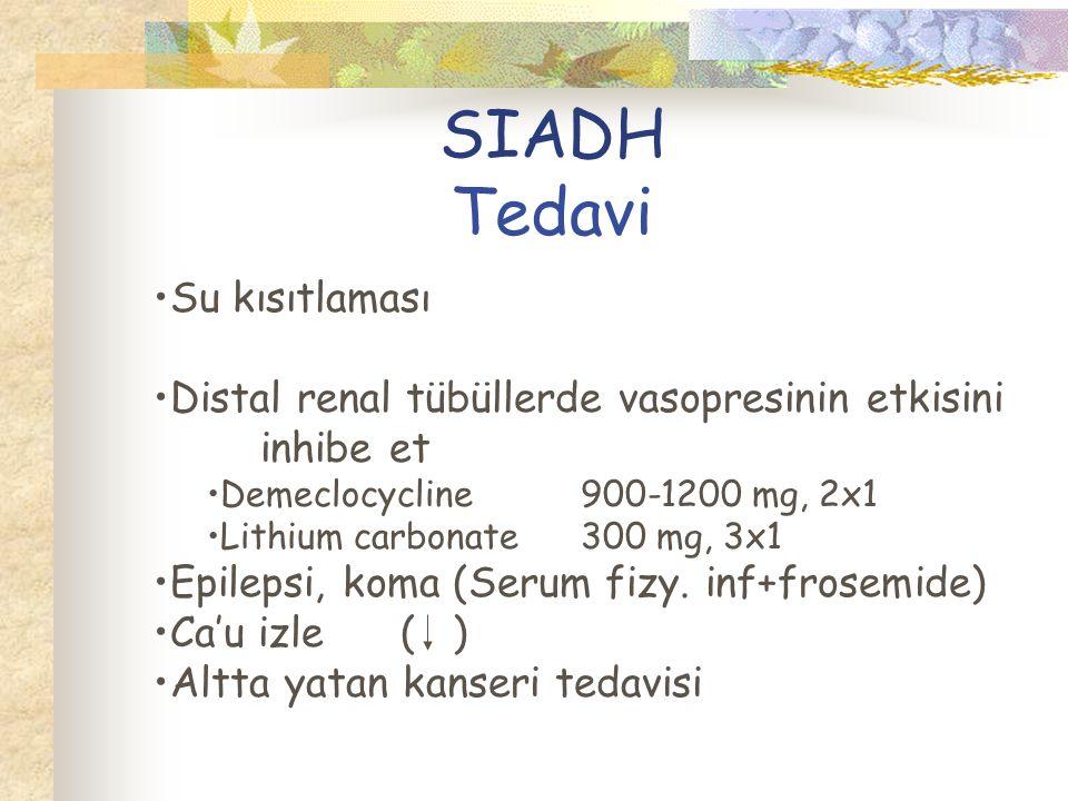 SIADH Tedavi Su kısıtlaması Distal renal tübüllerde vasopresinin etkisini inhibe et Demeclocycline900-1200 mg, 2x1 Lithium carbonate300 mg, 3x1 Epilepsi, koma (Serum fizy.