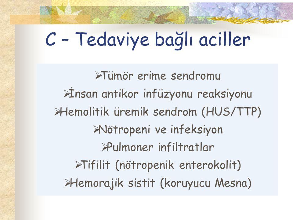  Tümör erime sendromu  İnsan antikor infüzyonu reaksiyonu  Hemolitik üremik sendrom (HUS/TTP)  Nötropeni ve infeksiyon  Pulmoner infiltratlar  Tifilit (nötropenik enterokolit)  Hemorajik sistit (koruyucu Mesna)