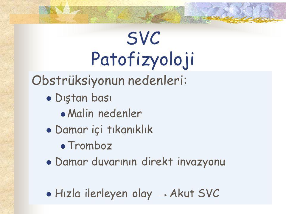 SVC Patofizyoloji Obstrüksiyonun nedenleri: Dıştan bası Malin nedenler Damar içi tıkanıklık Tromboz Damar duvarının direkt invazyonu Hızla ilerleyen olay Akut SVC