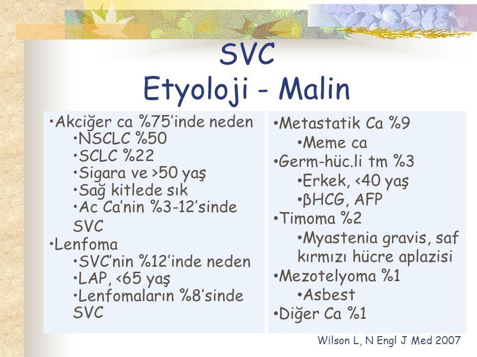 SVC Etyoloji - Malin Akciğer ca %75'inde neden NSCLC %50 SCLC %22 Sigara ve >50 yaş Sağ kitlede sık Ac Ca'nin %3-12'sinde SVC Lenfoma SVC'nin %12'inde neden LAP, <65 yaş Lenfomaların %8'sinde SVC Metastatik Ca %9 Meme ca Germ-hüc.li tm %3 Erkek, <40 yaş βHCG, AFP Timoma %2 Myastenia gravis, saf kırmızı hücre aplazisi Mezotelyoma %1 Asbest Diğer Ca %1 Wilson L, N Engl J Med 2007