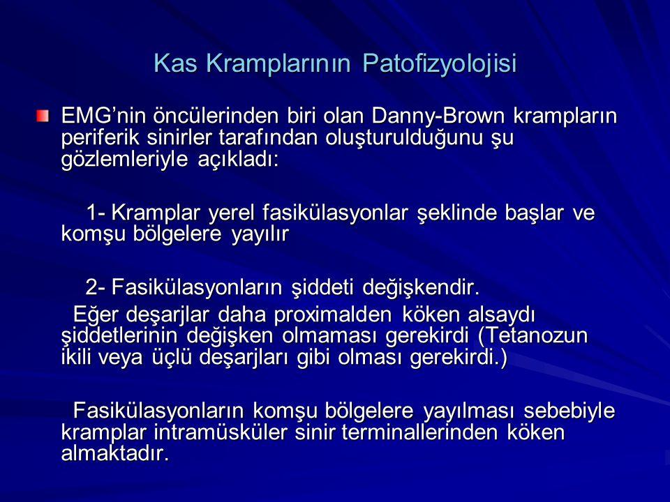 Kas Kramplarının Patofizyolojisi EMG'nin öncülerinden biri olan Danny-Brown krampların periferik sinirler tarafından oluşturulduğunu şu gözlemleriyle