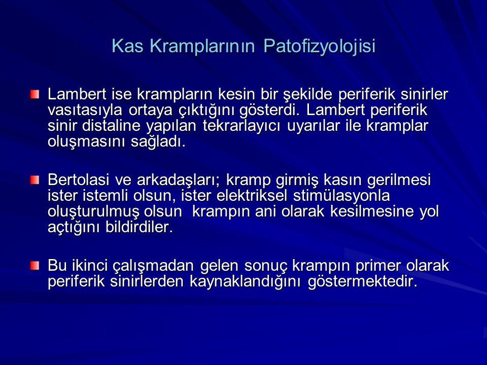 Kas Kramplarının Patofizyolojisi Lambert ise krampların kesin bir şekilde periferik sinirler vasıtasıyla ortaya çıktığını gösterdi. Lambert periferik