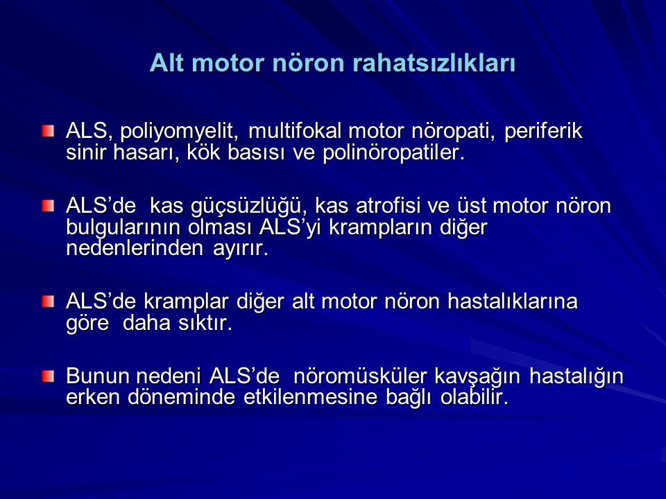 Alt motor nöron rahatsızlıkları ALS, poliyomyelit, multifokal motor nöropati, periferik sinir hasarı, kök basısı ve polinöropatiler. ALS'de kas güçsüz