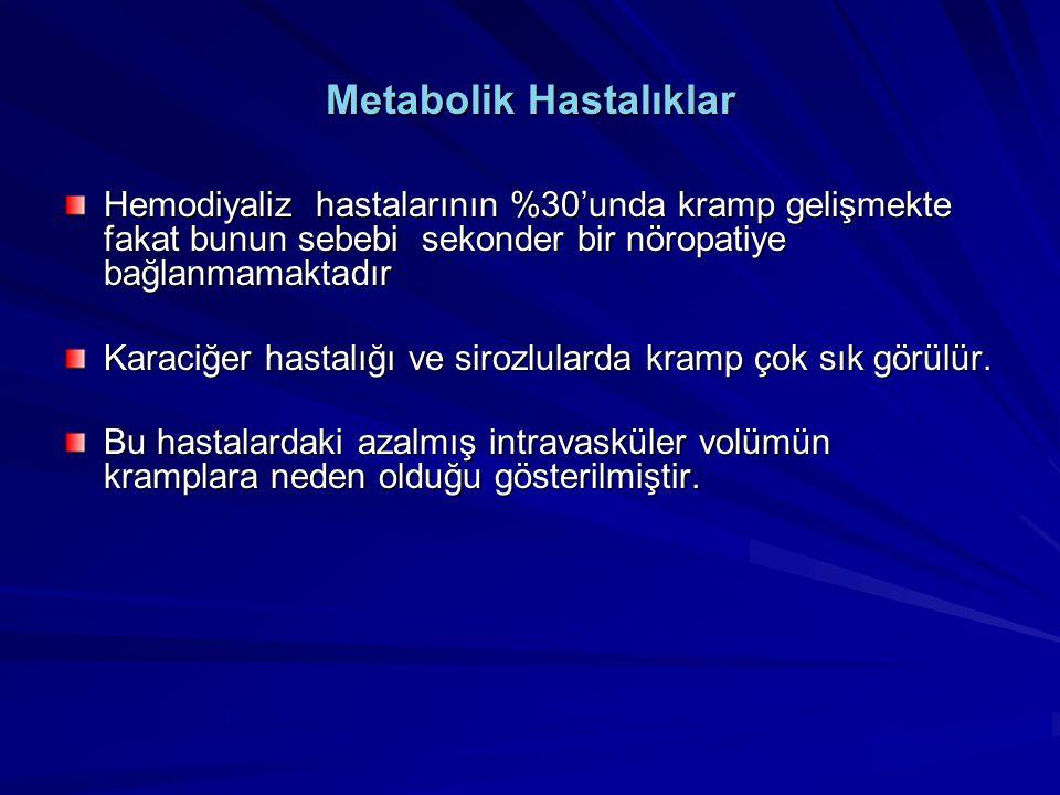 Metabolik Hastalıklar Hemodiyaliz hastalarının %30'unda kramp gelişmekte fakat bunun sebebi sekonder bir nöropatiye bağlanmamaktadır Karaciğer hastalı