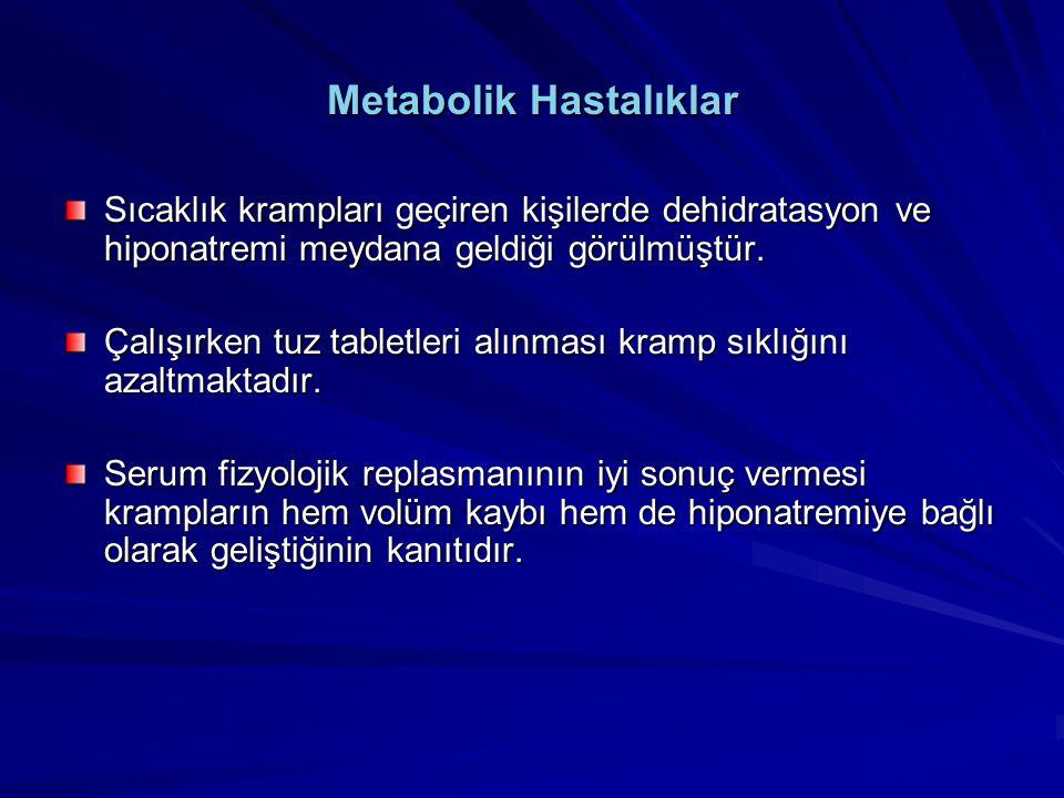 Metabolik Hastalıklar Sıcaklık krampları geçiren kişilerde dehidratasyon ve hiponatremi meydana geldiği görülmüştür. Çalışırken tuz tabletleri alınmas