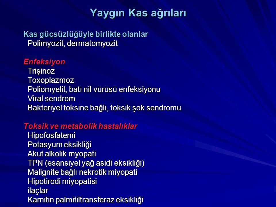 Yaygın Kas ağrıları Kas güçsüzlüğüyle birlikte olanlar Kas güçsüzlüğüyle birlikte olanlar Polimyozit, dermatomyozit Polimyozit, dermatomyozit Enfeksiy