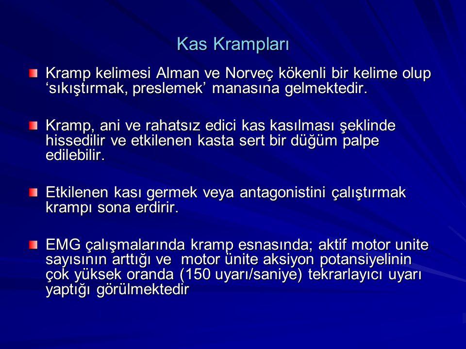 Kas Krampları Kramp kelimesi Alman ve Norveç kökenli bir kelime olup 'sıkıştırmak, preslemek' manasına gelmektedir. Kramp, ani ve rahatsız edici kas k