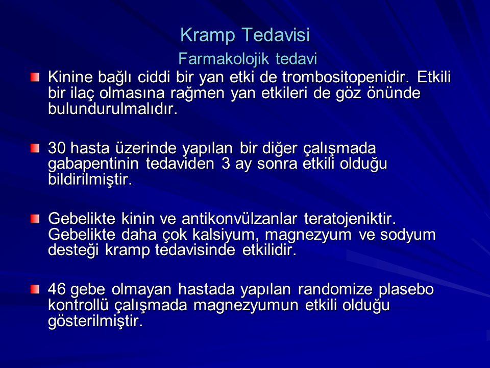 Kramp Tedavisi Farmakolojik tedavi Kinine bağlı ciddi bir yan etki de trombositopenidir. Etkili bir ilaç olmasına rağmen yan etkileri de göz önünde bu