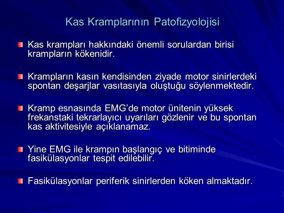 Kas Kramplarının Patofizyolojisi Kas krampları hakkındaki önemli sorulardan birisi krampların kökenidir. Krampların kasın kendisinden ziyade motor sin