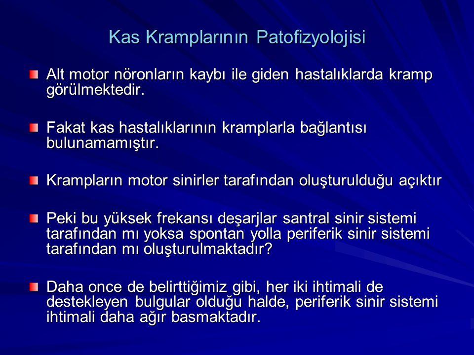 Kas Kramplarının Patofizyolojisi Alt motor nöronların kaybı ile giden hastalıklarda kramp görülmektedir. Fakat kas hastalıklarının kramplarla bağlantı