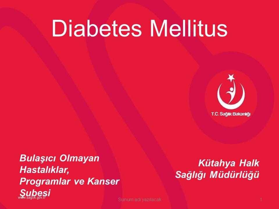 Kütahya Halk Sağlığı Müdürlüğü Diabetes Mellitus Bulaşıcı Olmayan Hastalıklar, Programlar ve Kanser Şubesi 1Sunum adı yazılacak