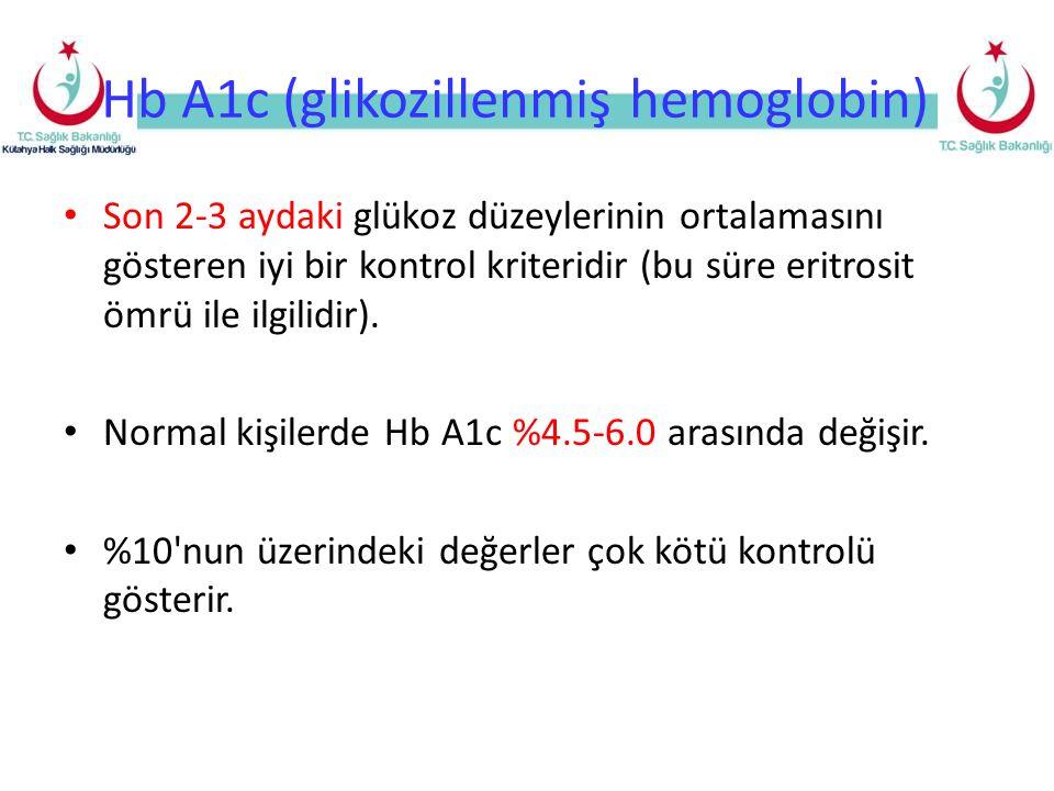 Hb A1c (glikozillenmiş hemoglobin) Son 2-3 aydaki glükoz düzeylerinin ortalamasını gösteren iyi bir kontrol kriteridir (bu süre eritrosit ömrü ile ilg
