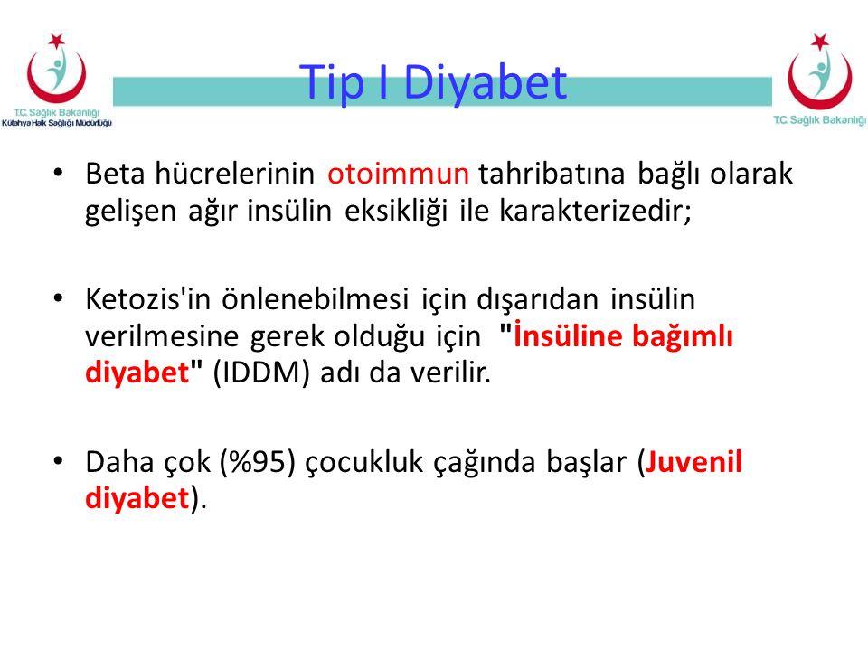 Tip I Diyabet Beta hücrelerinin otoimmun tahribatına bağlı olarak gelişen ağır insülin eksikliği ile karakterizedir; Ketozis in önlenebilmesi için dışarıdan insülin verilmesine gerek olduğu için İnsüline bağımlı diyabet (IDDM) adı da verilir.