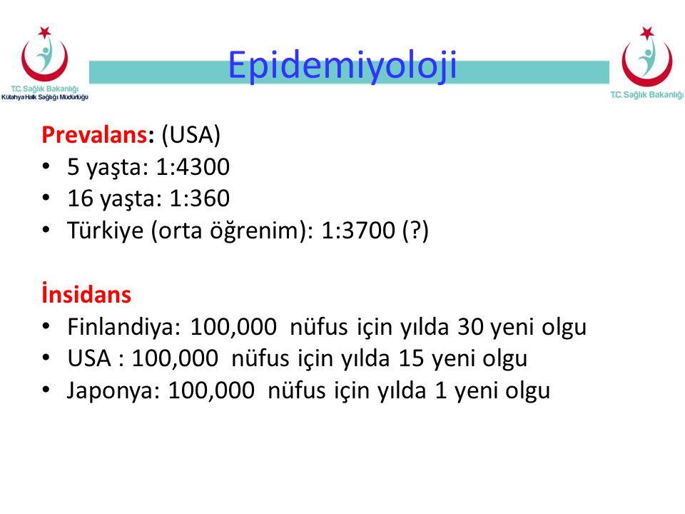Epidemiyoloji Prevalans: (USA) 5 yaşta: 1:4300 16 yaşta: 1:360 Türkiye (orta öğrenim): 1:3700 (?) İnsidans Finlandiya: 100,000 nüfus için yılda 30 yeni olgu USA : 100,000 nüfus için yılda 15 yeni olgu Japonya: 100,000 nüfus için yılda 1 yeni olgu
