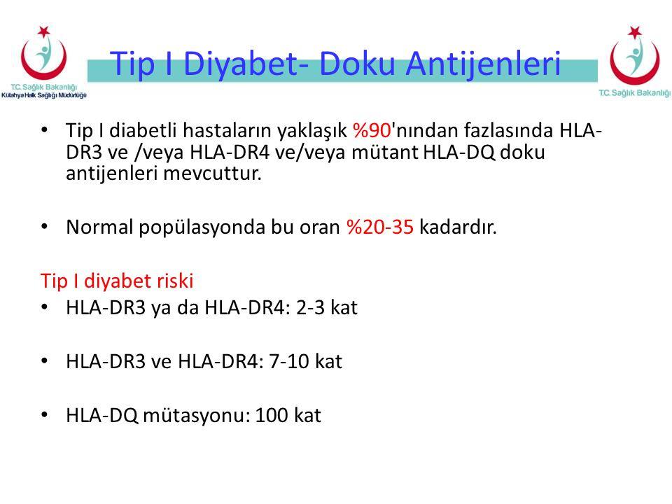 Tip I Diyabet- Doku Antijenleri Tip I diabetli hastaların yaklaşık %90 nından fazlasında HLA- DR3 ve /veya HLA-DR4 ve/veya mütant HLA-DQ doku antijenleri mevcuttur.