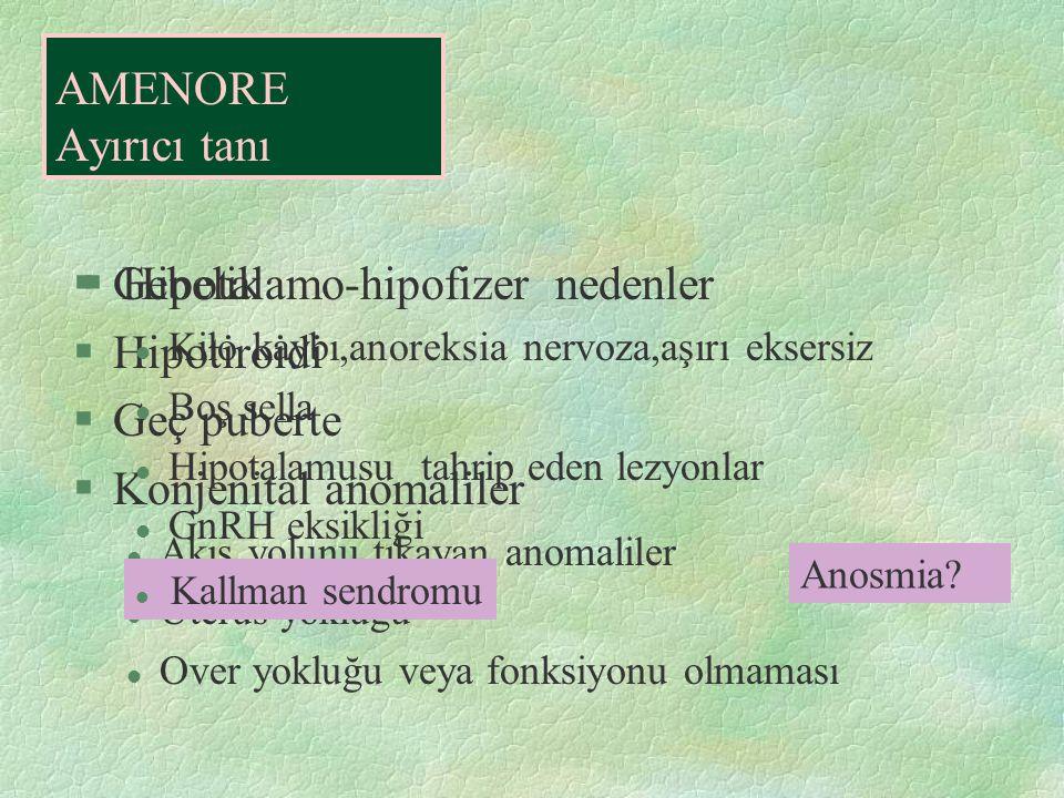 §Gebelik §Hipotiroidi §Geç puberte §Konjenital anomaliler l Akış yolunu tıkayan anomaliler l Uterus yokluğu l Over yokluğu veya fonksiyonu olmaması AM