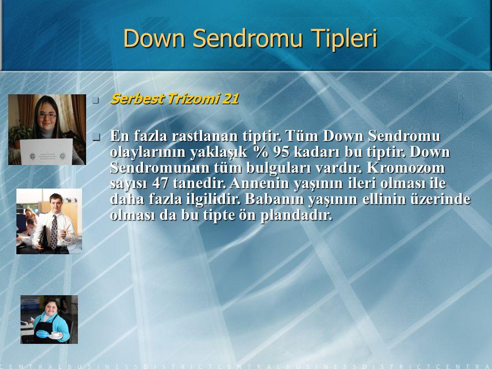 Down Sendromu Tipleri Serbest Trizomi 21 Serbest Trizomi 21 En fazla rastlanan tiptir. Tüm Down Sendromu olaylarının yaklaşık % 95 kadarı bu tiptir. D