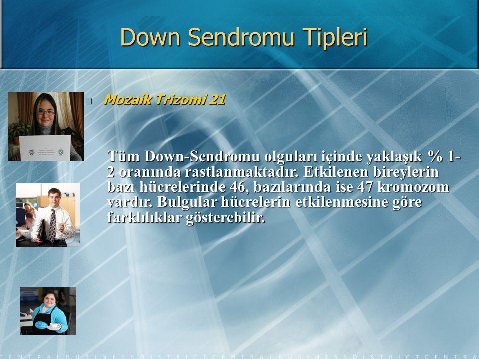 Down Sendromu Tipleri Mozaik Trizomi 21 Mozaik Trizomi 21 Tüm Down-Sendromu olguları içinde yaklaşık % 1- 2 oranında rastlanmaktadır. Etkilenen bireyl