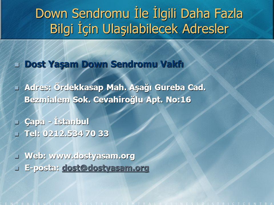 Down Sendromu İle İlgili Daha Fazla Bilgi İçin Ulaşılabilecek Adresler Dost Yaşam Down Sendromu Vakfı Dost Yaşam Down Sendromu Vakfı Adres: Ördekkasap