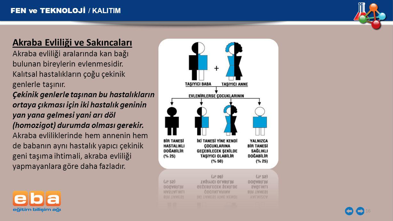 FEN ve TEKNOLOJİ / KALITIM 16 Akraba Evliliği ve Sakıncaları Akraba evliliği aralarında kan bağı bulunan bireylerin evlenmesidir. Kalıtsal hastalıklar