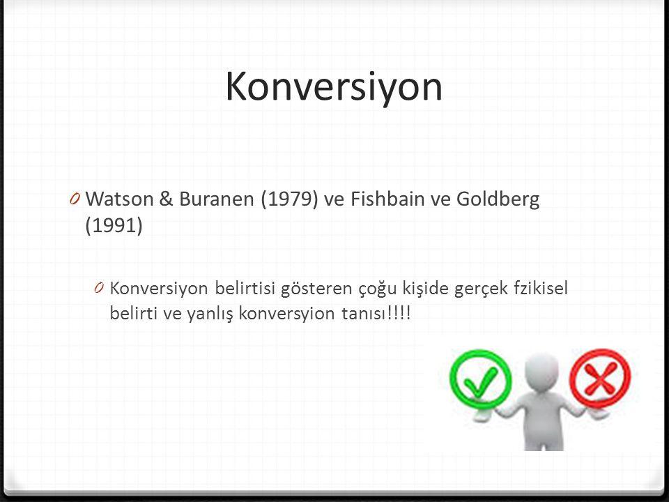 Konversiyon 0 Watson & Buranen (1979) ve Fishbain ve Goldberg (1991) 0 Konversiyon belirtisi gösteren çoğu kişide gerçek fzikisel belirti ve yanlış konversyion tanısı!!!!