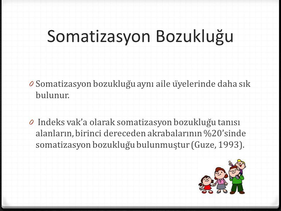 Somatizasyon Bozukluğu 0 Somatizasyon bozukluğu aynı aile üyelerinde daha sık bulunur. 0 İndeks vak'a olarak somatizasyon bozukluğu tanısı alanlar