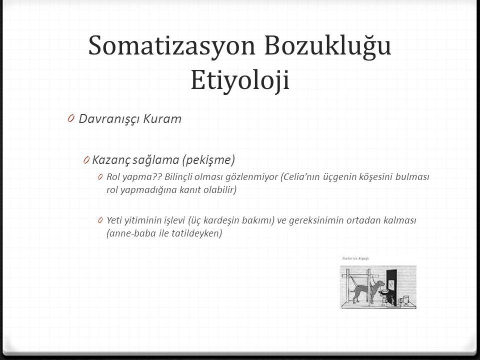 Somatizasyon Bozukluğu Etiyoloji 0 Davranışçı Kuram 0 Kazanç sağlama (pekişme) 0 Rol yapma?? Bilinçli olması gözlenmiyor (Celia'nın üçgenin köşesini b