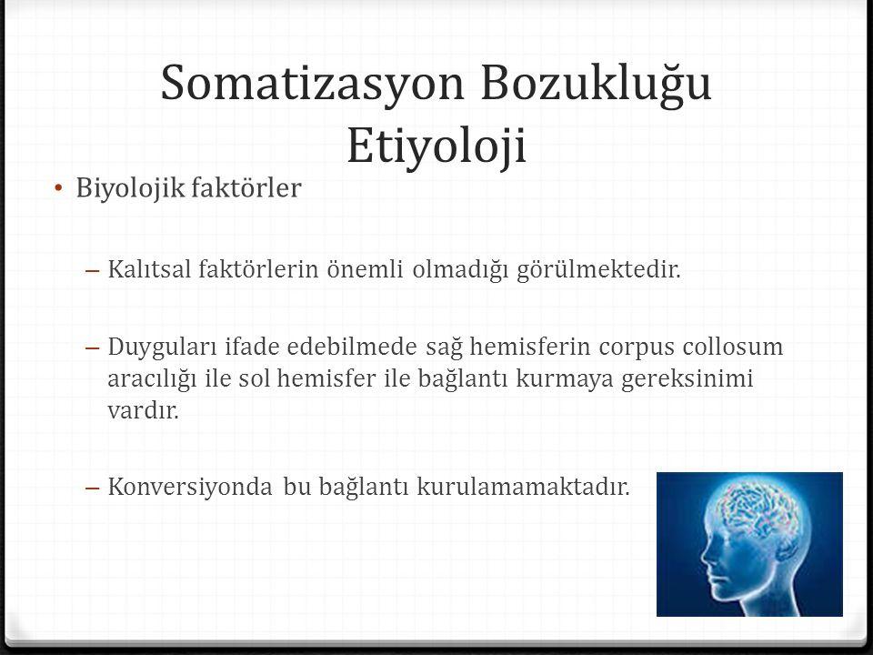 Somatizasyon Bozukluğu Etiyoloji Biyolojik faktörler – Kalıtsal faktörlerin önemli olmadığı görülmektedir. – Duyguları ifade edebilmede sağ hemisferin