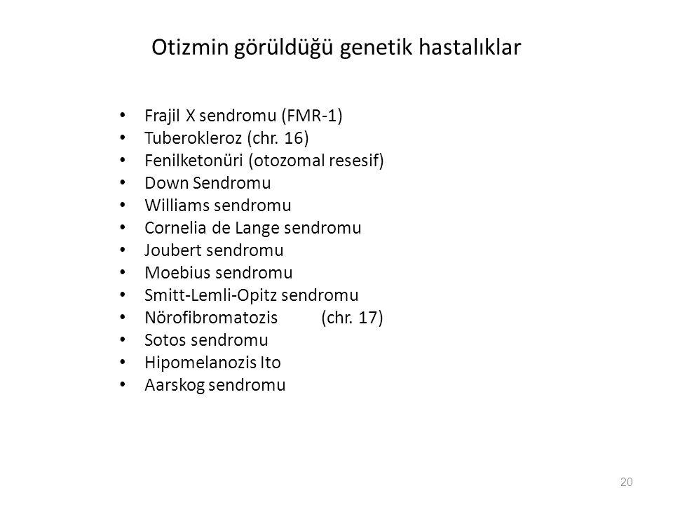 20 Otizmin görüldüğü genetik hastalıklar Frajil X sendromu (FMR-1) Tuberokleroz (chr.