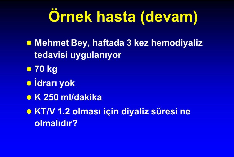 Örnek hasta (devam) Mehmet Bey, haftada 3 kez hemodiyaliz tedavisi uygulanıyor 70 kg İdrarı yok K 250 ml/dakika KT/V 1.2 olması için diyaliz süresi ne olmalıdır