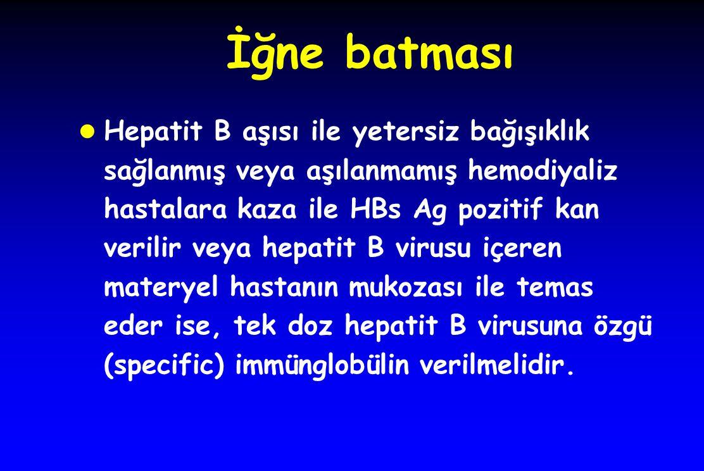 İğne batması Hepatit B aşısı ile yetersiz bağışıklık sağlanmış veya aşılanmamış hemodiyaliz hastalara kaza ile HBs Ag pozitif kan verilir veya hepatit B virusu içeren materyel hastanın mukozası ile temas eder ise, tek doz hepatit B virusuna özgü (specific) immünglobülin verilmelidir.