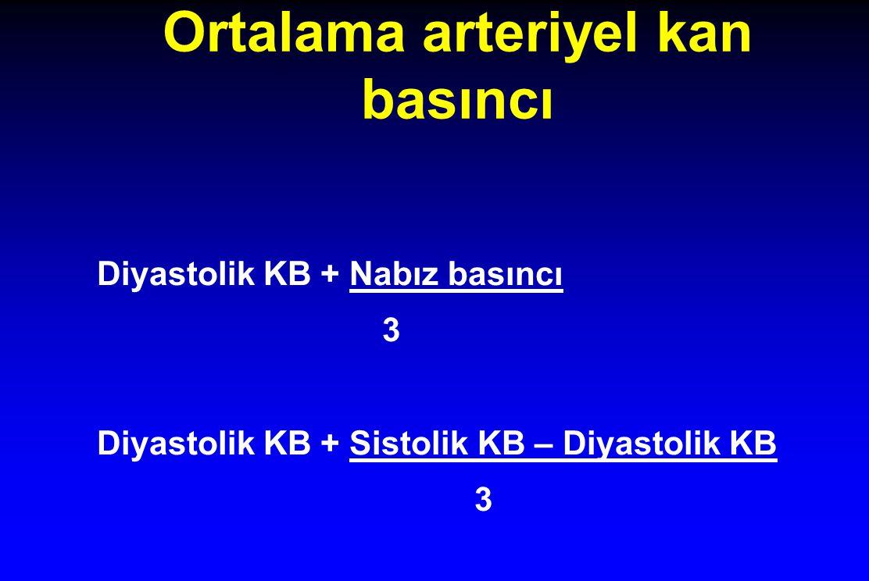 Ortalama arteriyel kan basıncı Diyastolik KB + Nabız basıncı 3 Diyastolik KB + Sistolik KB – Diyastolik KB 3