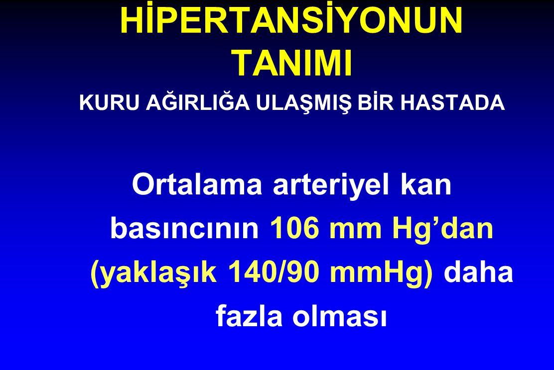 HİPERTANSİYONUN TANIMI KURU AĞIRLIĞA ULAŞMIŞ BİR HASTADA Ortalama arteriyel kan basıncının 106 mm Hg'dan (yaklaşık 140/90 mmHg) daha fazla olması