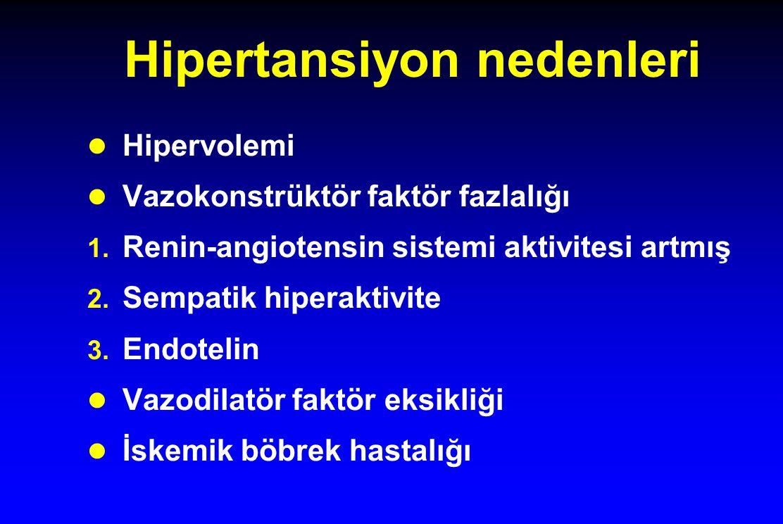 Hipertansiyon nedenleri Hipervolemi Vazokonstrüktör faktör fazlalığı 1.