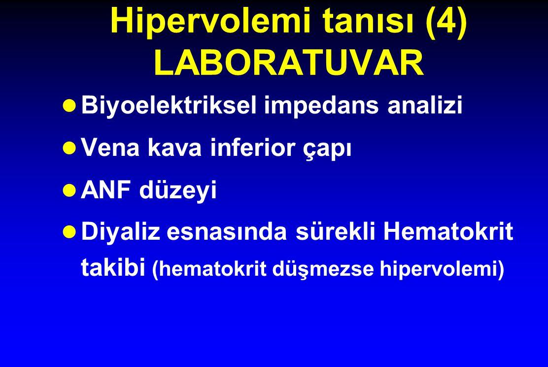 Hipervolemi tanısı (4) LABORATUVAR Biyoelektriksel impedans analizi Vena kava inferior çapı ANF düzeyi Diyaliz esnasında sürekli Hematokrit takibi (hematokrit düşmezse hipervolemi)