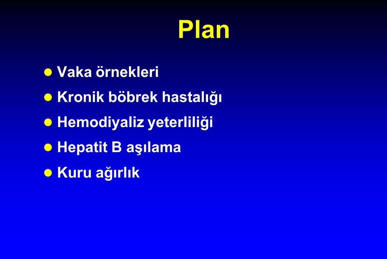 Plan Vaka örnekleri Kronik böbrek hastalığı Hemodiyaliz yeterliliği Hepatit B aşılama Kuru ağırlık