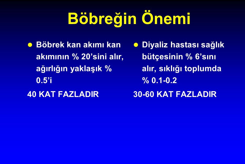 Böbreğin Önemi Böbrek kan akımı kan akımının % 20'sini alır, ağırlığın yaklaşık % 0.5'i 40 KAT FAZLADIR Diyaliz hastası sağlık bütçesinin % 6'sını alır, sıklığı toplumda % 0.1-0.2 30-60 KAT FAZLADIR