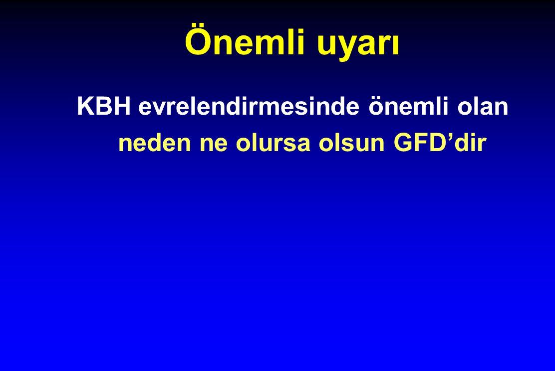 Önemli uyarı KBH evrelendirmesinde önemli olan neden ne olursa olsun GFD'dir
