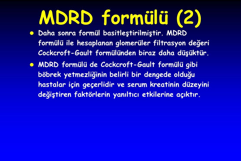 MDRD formülü (2)  Daha sonra formül basitleştirilmiştir.