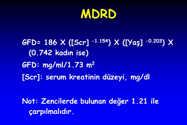 MDRD GFD= 186 X ([Scr] -1.154 ) X ([Yaş] -0.203 ) X (0.742 kadın ise) GFD: mg/ml/1.73 m 2 [Scr]: serum kreatinin düzeyi, mg/dl Not: Zencilerde bulunan değer 1.21 ile çarpılmalıdır.