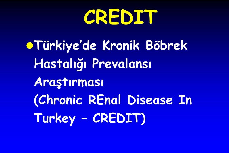 CREDIT Türkiye'de Kronik Böbrek Hastalığı Prevalansı Araştırması (Chronic REnal Disease In Turkey – CREDIT)
