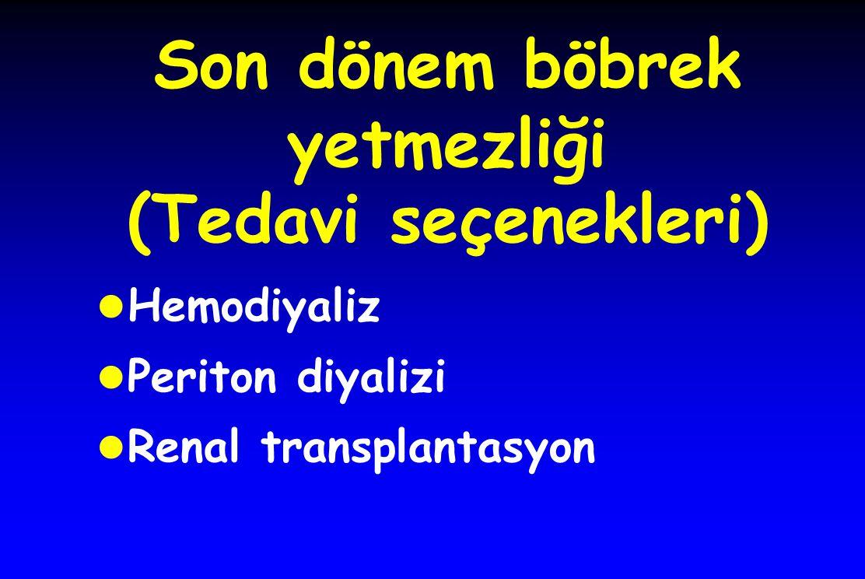 Son dönem böbrek yetmezliği (Tedavi seçenekleri)  Hemodiyaliz Periton diyalizi Renal transplantasyon
