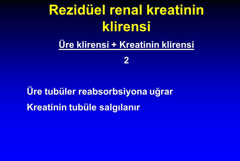 Rezidüel renal kreatinin klirensi Üre klirensi + Kreatinin klirensi 2 Üre tubüler reabsorbsiyona uğrar Kreatinin tubüle salgılanır