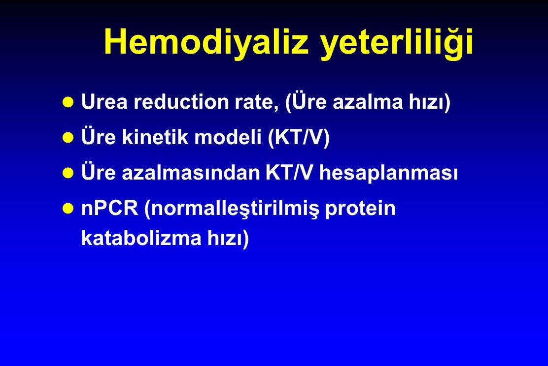 Hemodiyaliz yeterliliği Urea reduction rate, (Üre azalma hızı) Üre kinetik modeli (KT/V) Üre azalmasından KT/V hesaplanması nPCR (normalleştirilmiş protein katabolizma hızı)